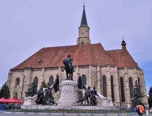 Saint Michaels Church In Cluj Napoca And King Matthias Corvin Statue